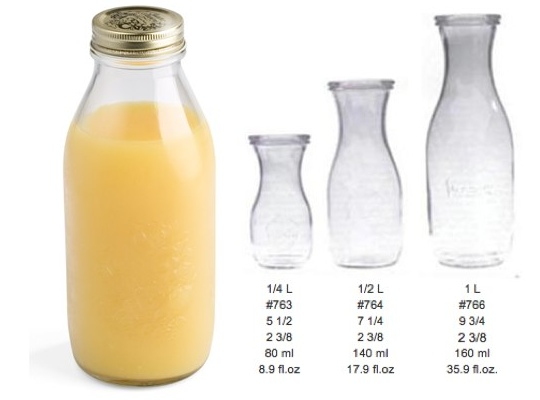 Quattro Stagioni bottle (left), Weck jars (right)