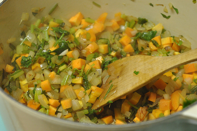 sauting veggies