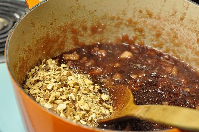 stirring in almonds