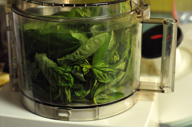 basil in the food processor
