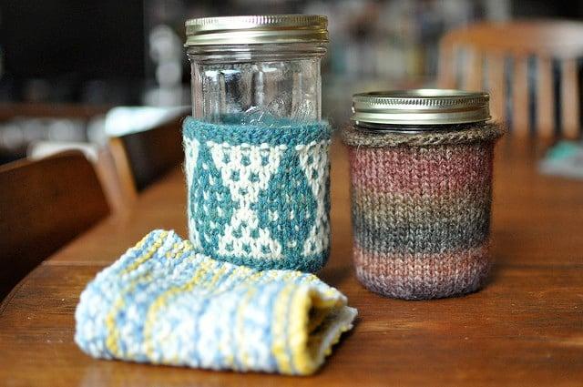 jar cozies + dish rag