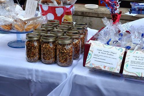 pints of granola at bake sale