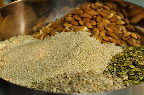 oats, sesame seeds, almonds, pepitas & sunflower seeds