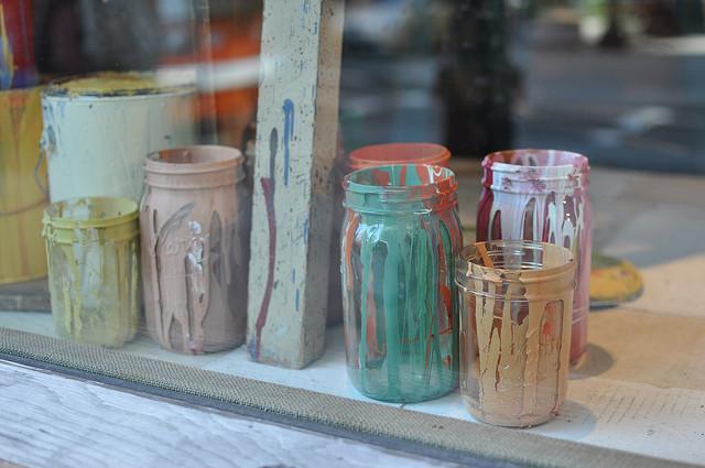 painted jars at Anthropologie