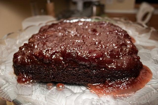 vegan chocolate-strawberry upside-down cake