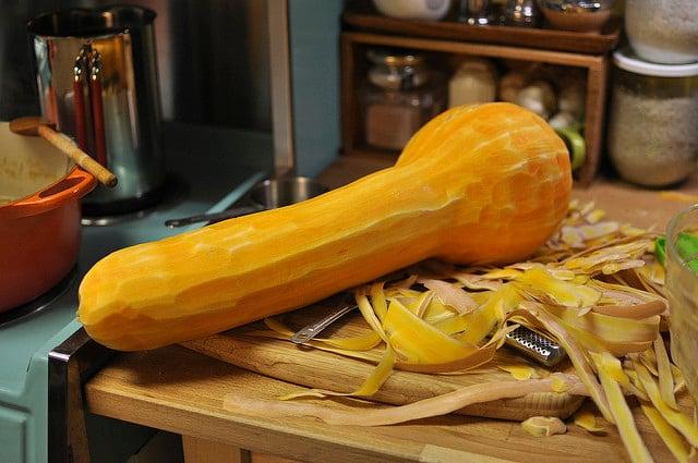 peeling pumpkin