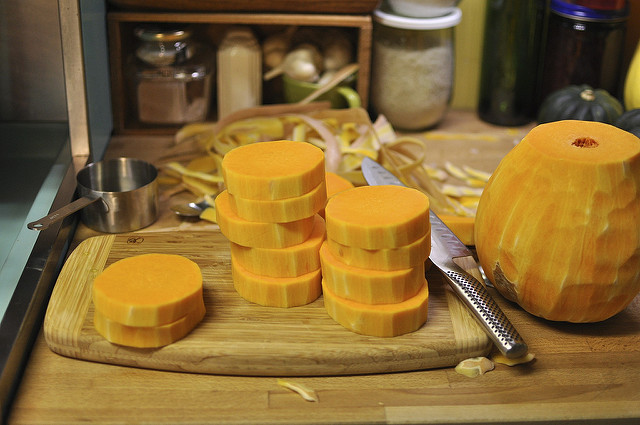 chopping pumpkin