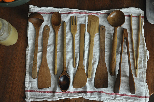 wooden spoons on white