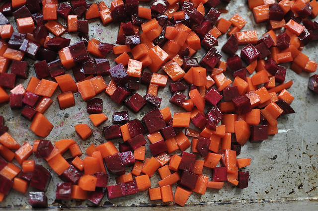 cubed carrots and beets
