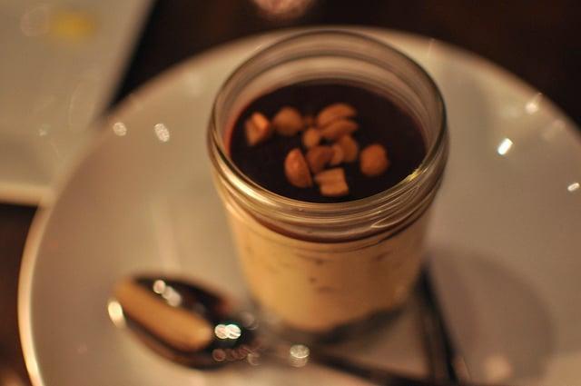 peanut butter chocolate dessert in a jar