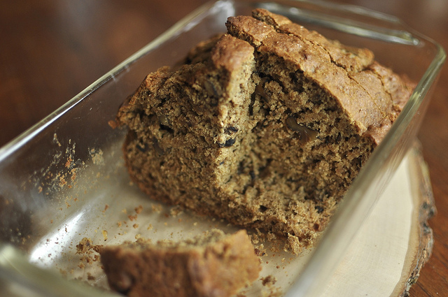 maple banana bread with pear butter