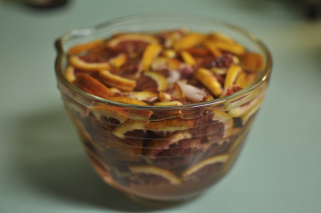 soaking blood oranges