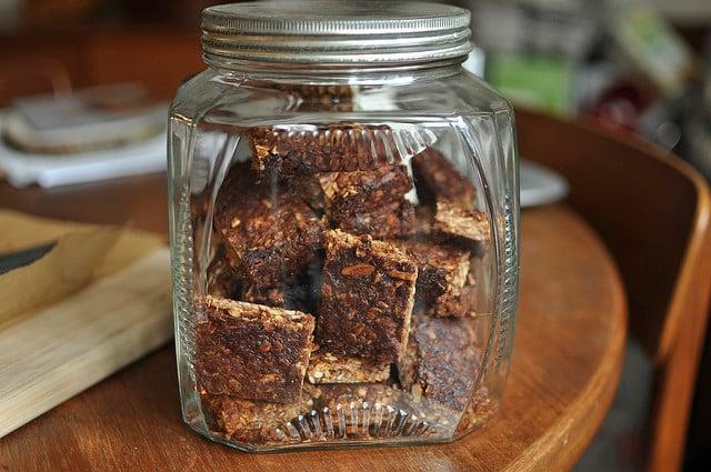 granola bars in a jar