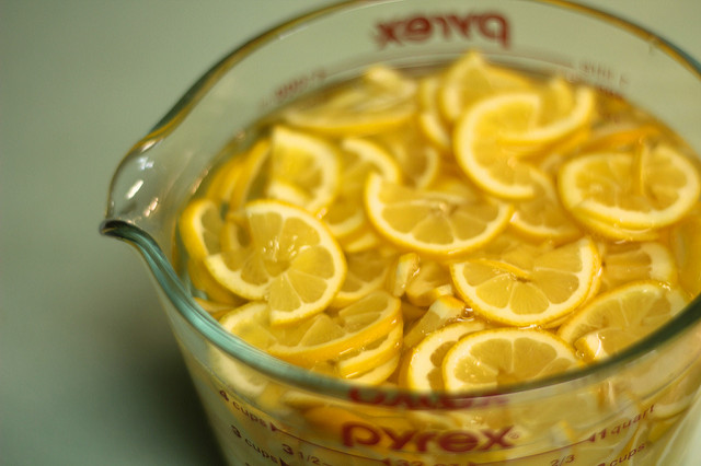 soaking meyer lemon bits