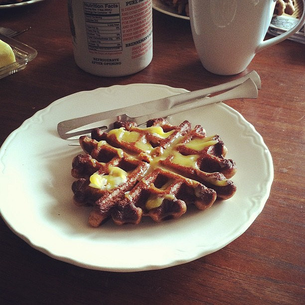 Grain-free waffles with grapefruit curd.