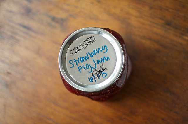 a half pint of strawberry fig jam