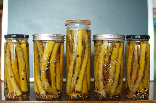 pickled asparagus in different jar styles