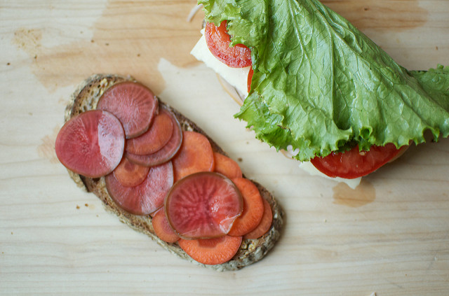 pickled carrots on a sandwich