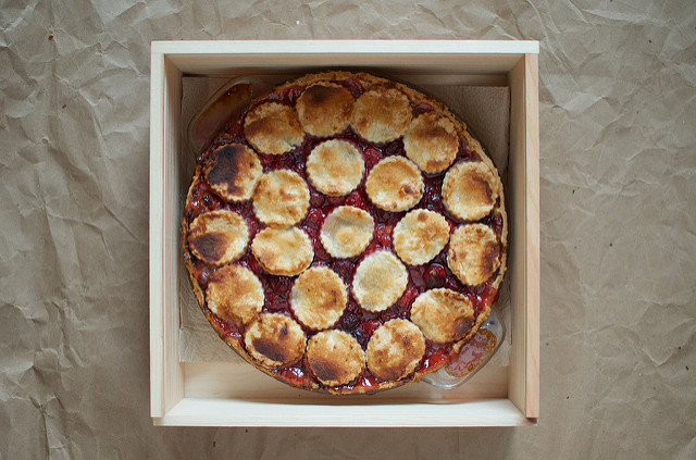 cherry pie in pie box