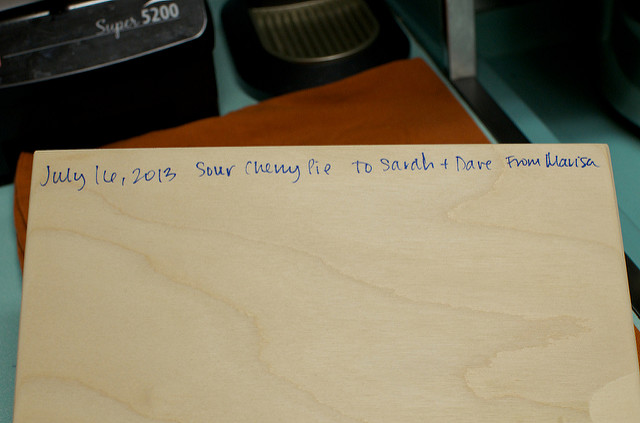 pie box inscription