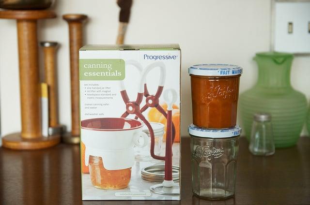 Progressive International canning kit and Le Parfait jars