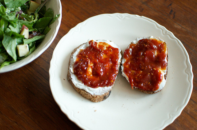 fromage blanc and tomato jam