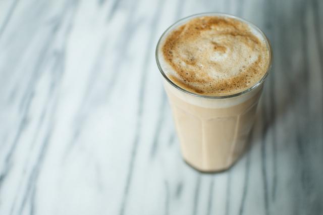 homemade latte in Duralex
