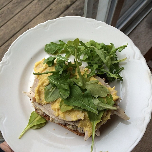 The last meal of Christmas leftovers. Open face turkey sandwich with beet dip and arugula. Made by my dad.