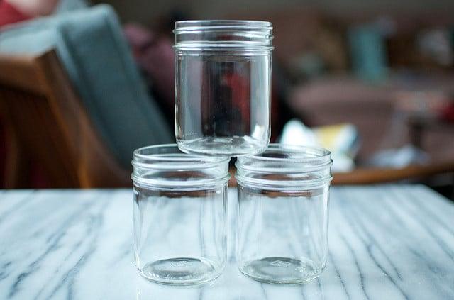 stacked half pint jars