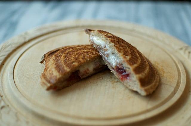 prosciutto, cheese, and jam sandwich