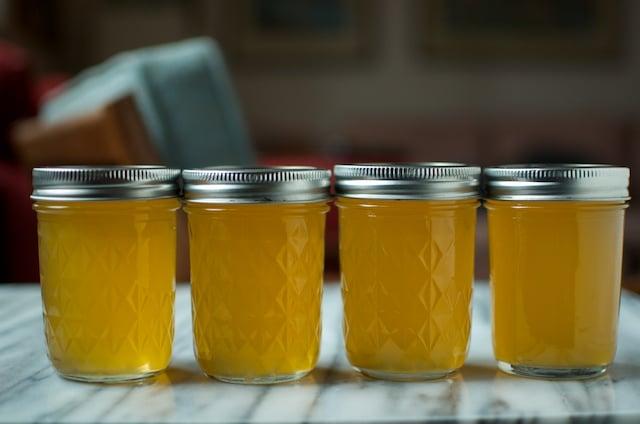 row of meyer lemon syrup