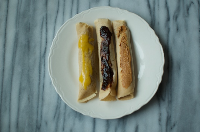 three rolled crepes
