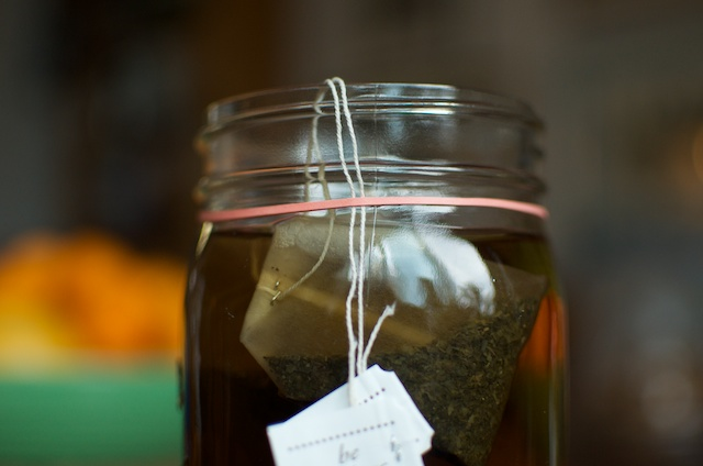 rubber banded tea bags