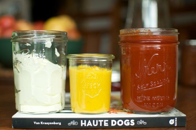 condiments on Haute Dogs