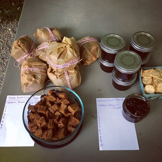 My food swap offering tonight? Salted butterscotch squares and Italian plum star anise jam.