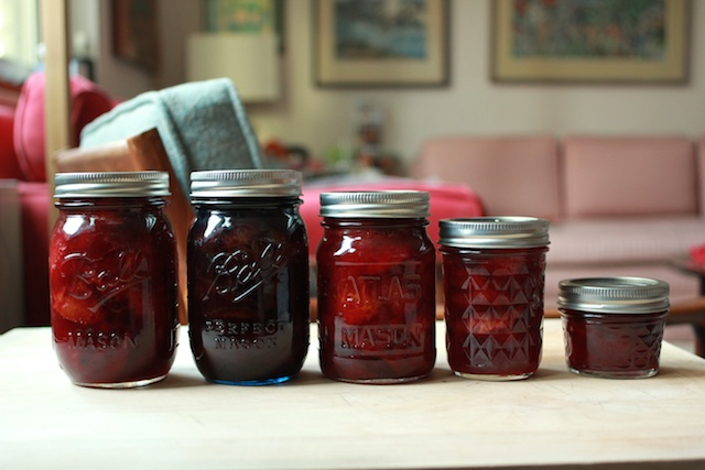 finished jars of pickled plums
