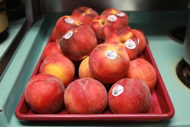 peaches on stove