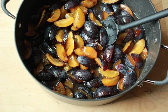 slivered plums