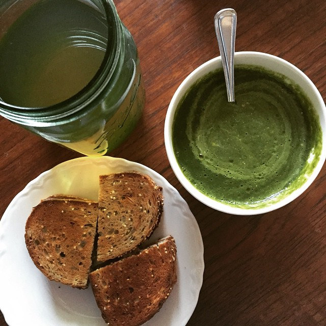 Super green soup, toasted cheese, and cool white tea.