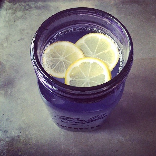 A quart of warm Meyer lemon water in one of the new purple jars from Ball Canning. Such a good way to stay warm and hydrated.