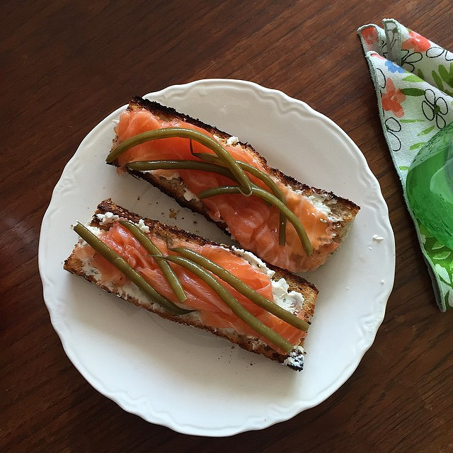 Whole wheat baguette, goat cheese, smoked salmon, and dilly beans.
