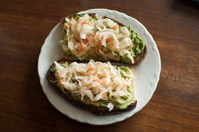 avocado sauerkraut toast