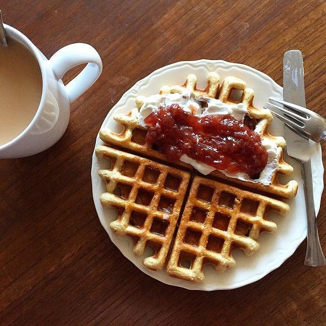A solitary homemade waffle