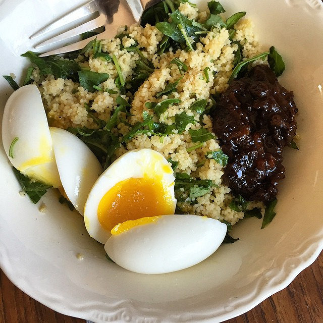 Today's take on the soft boiled egg lunch. This time, with whole wheat couscous, chopped arugula, and plum chutney.