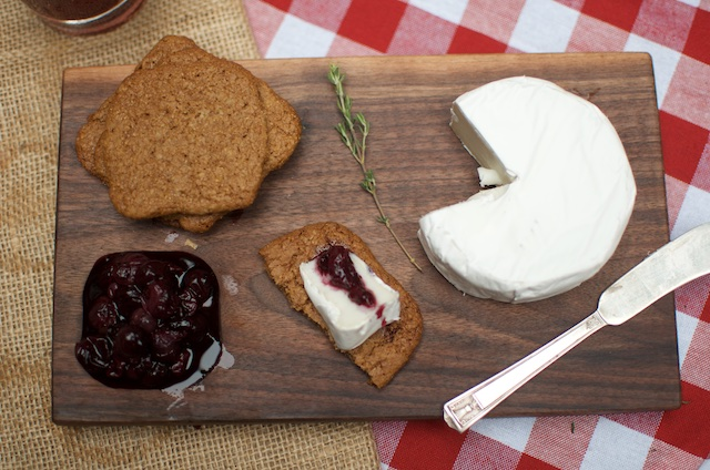 spiced blueberries and goat brie