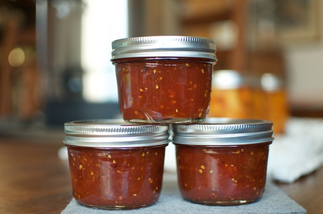three half pints tomato jam