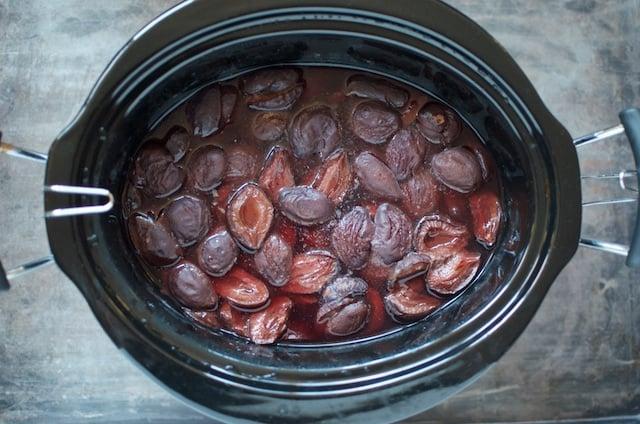 cooked plum halves