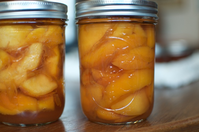 finished pickled peaches