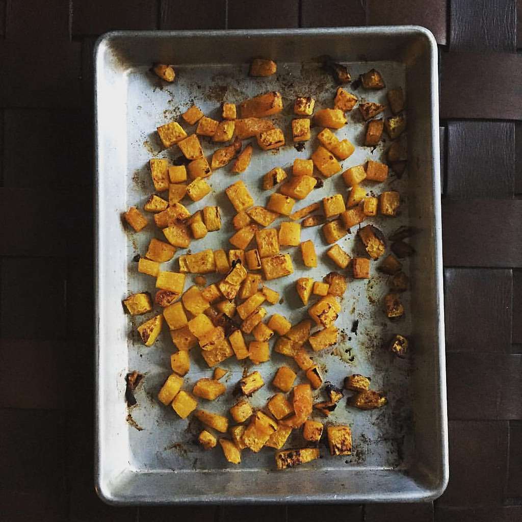 roasted butternut cubes