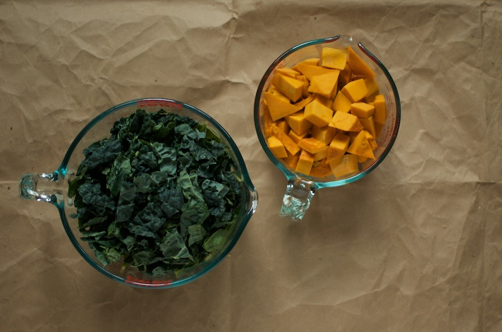 greens and squash cubes - Food in Jars
